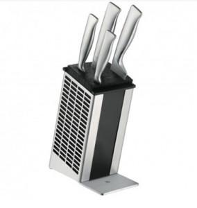 1 890 zł 1 299 złBlok z nożami Grand Gourmet, 5-częściowy.  Ostrza typu Performance Cut.  Zestaw składa się z:  - 1 x blok na noże  - 1 x noż do warzyw 9cm,  - 1 x noż kuchenny 11cm  - 1 x nóż do chleba 19cm  - 1 x nóż szefa kuchni 20cm